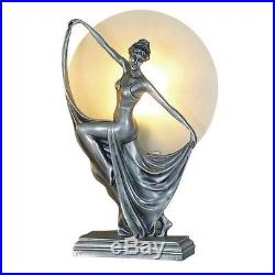 Art Deco Lamp, Silver Table Lamp, Round Glass Shade, Lady Holding Skirt