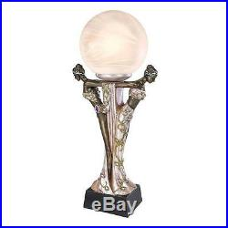 Art Deco Maiden Muses Statue Frosted Glass Globes Illuminated Sculpture Lamp