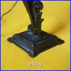 Art Deco Metal Figural Lamp With Circular Glass Shade