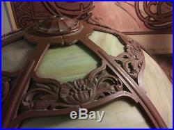 Art Deco Miller Slag Glass 6 Panel Nouveau Table Lamp Handel Bradley Hubbard Era