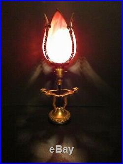 Art Deco Nouveau Dancing Ladies Figural Lamp With Handel Signed Slag Glass Shade