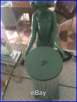 Art Deco Nude Glass Rod Shade Lamp 1930s Frankart Style