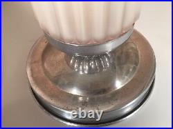 Art Deco Pair of Lamps Pink Shades Chrome Base Antique