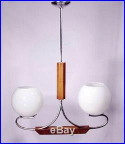 Art Deco Pendant Lamp Bauhaus Chandelier 1930 Light Fixture Ceiling Wood Glass