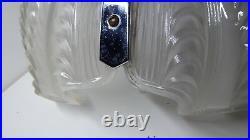 Art Deco Pressed Glass Clam Shell Light Shade Antique Hanging Shade Chrome Frame