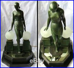 Art Deco Sculpture-Lamp-by Pierre Le Faguays Lady at the Fountain