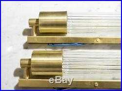 Art Deco Skycraper Style Wall Lights Sconces Lamp. Brass And Glass