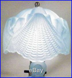 Art Deco Southern Belle Lamp Blue Glass Lady Shell Shade Vintage Bedroom Boudoir