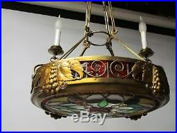 Art Deco Stained Glass Chandeliers Vintage Brass Chandeliers Stained Glass Lamp