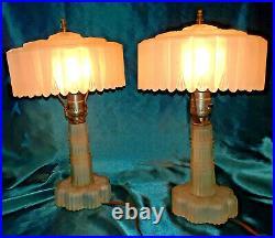 Art Deco White Satin Glass Shades Boudoir Lamp Pair Mid Century Modern Motif