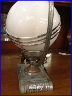 Art Deco table lamp chrome over metal milk glass shade
