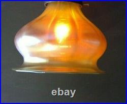 Art Glass Mellon Blossom Shade Iridescent Gold Aurene Lamp Art Nouveau Globe