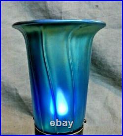 Art Glass Trumpet Shade Iridescent Blue Aurene Lamp Art Nouveau Fixture Globe 58