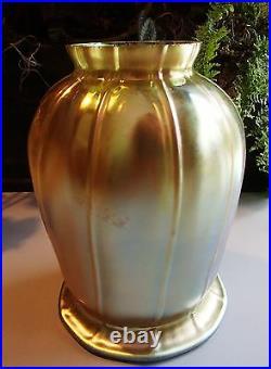 Art Glass Tulip Shade Iridescent Gold Aurene Lamp Art Nouveau Fixture Globe