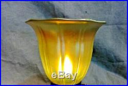 Art Glass Tulip Shade Iridescent Gold Aurene Lamp Art Nouveau Fixture Globe 51