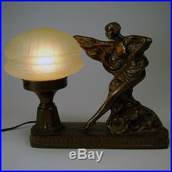 Art Nouveau Accent Lamp with Uranium Glass Shade 1920's