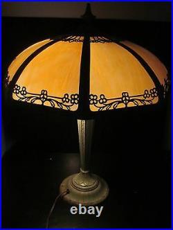 Art Nouveau Antique Slag Glass Lamp In Original Verdigris Paint Signed Ranard