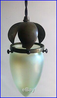 Art Nouveau/ Arts And Crafts Pendant Light / Lamp With Vaseline Glass Shade