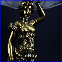 Art Nouveau Brass Plated Spelter Lady Semi-Nude Boudoir Frosted Glass Lamp