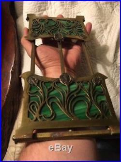 Art Nouveau Bronze & Green Slag Glass Sliding Bookends Rack Apollo/Tiffany RARE