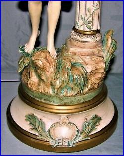 Art Nouveau Collection Francaise L & F Moreau Signed Female Figural Lamp