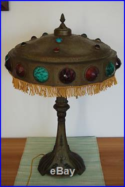 Art Nouveau Deco Antique Old Jeweled Glass Arts And Crafts
