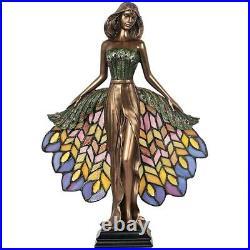 Art Nouveau Illuminated glass peacock princess Sculptural Table Lamp