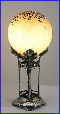 Art Nouveau, Jugendstil WMF silver plated stand with iridescent glass lamp shade