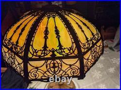 Art Nouveau Miller-b&h-handel- Era Green Stained Slag Glass Lamp 21 8 Panel
