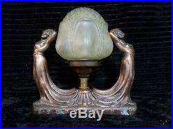 Art Nouveau Spelter Figural Ladies Lamp No 192 with Uranium Glass Shade Art Deco