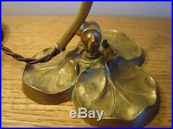 Art Nouveau solid brass boudoir lamp withLoetz shade PN II-2/677
