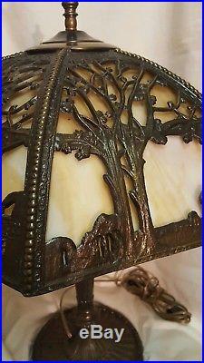 Art nouveau slag glass Lampshade&lamp base. PU only. CLIFTON Nj