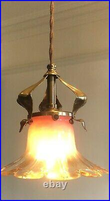 Arts And Crafts / Nouveau Pendant Light / Lamp With Vaseline Glass Shade