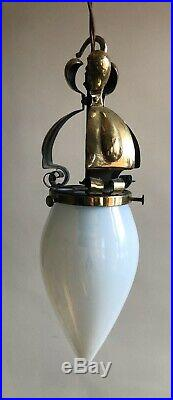 Arts And Crafts Pendant Light /Lamp With Vaseline Glass Shade