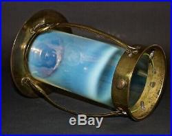 Arts And Crafts Vaseline Glass Brass Lantern