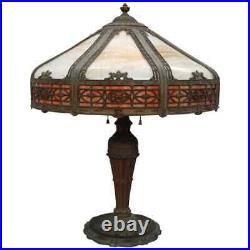 Arts & Crafts Antique Bradley & Hubbard School 2-Tone Slag Glass Lamp circa 1920