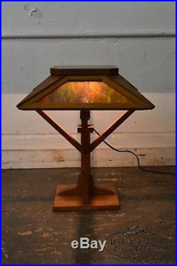 Arts & Crafts Antique Mission Style Slag Glass Table Lamp