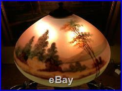 Arts Crafts Antique Vintage reverse painted Bradley Hubbard Handel Era Lamp NR