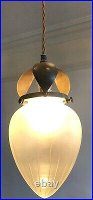 Arts&Crafts / Art Nouveau Pendant Light With Cut Glass Shade