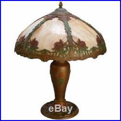 Arts & Crafts Bradley & Hubbard School Polychrome Slag Glass Lamp, circa 1920