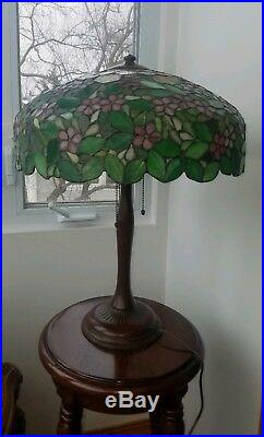 Arts&Crafts, Nouveau Double Signed Handel Stained Leaded Slag Glass Bronze Lamp