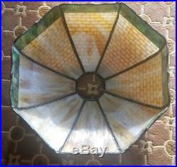 Arts & Crafts, Nouveau Era Handel RED ROSES Slag Glass Lamp