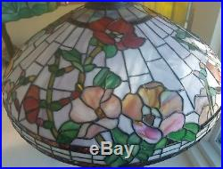 Arts & Crafts, Nouveau Handel Era Floral Leaded Slag Glass Lamp Hollyhock c1910