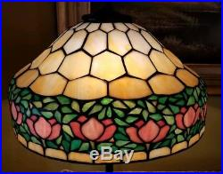 Arts & Crafts, Nouveau Handel/Unique Co. Leaded Stained Slag Glass Table Lamp