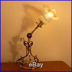 Arts and Crafts Brass Adjustable Pullmans Table Lamp with Vaseline Glass Shade