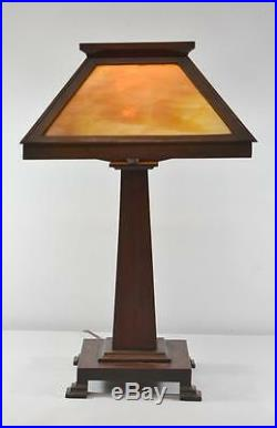 Arts and Crafts Stickley Style Oak Table Lamp with Slag Glass Shade