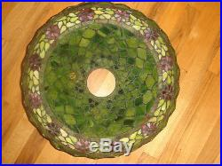 Arts&crafts Unique Handel Style Leaded Iridescent Glass Shade