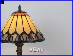 Artwork Tiffany Red Diamond Stained Glass Art Deco Table Lamp