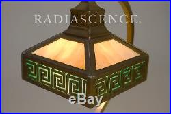 BRADLEY HUBBARD MISSION ARTS CRAFTS DECO KEY STAINED GLASS BRONZE TABLE LAMP 20s