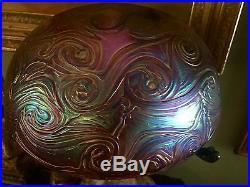 BRONZE TABLE LAMP WITH IRIDESCENT ART GLASS SHADE Acorn Pull, Elephants, Etc